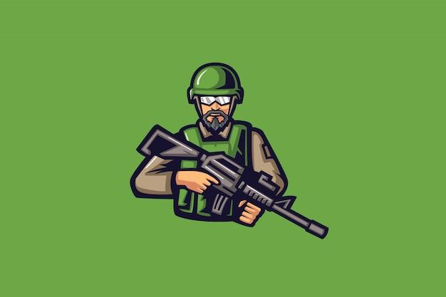 Mascotte esport verde hunter Vettore Premium