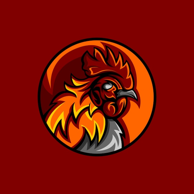 Mascotte gallo rosso Vettore Premium