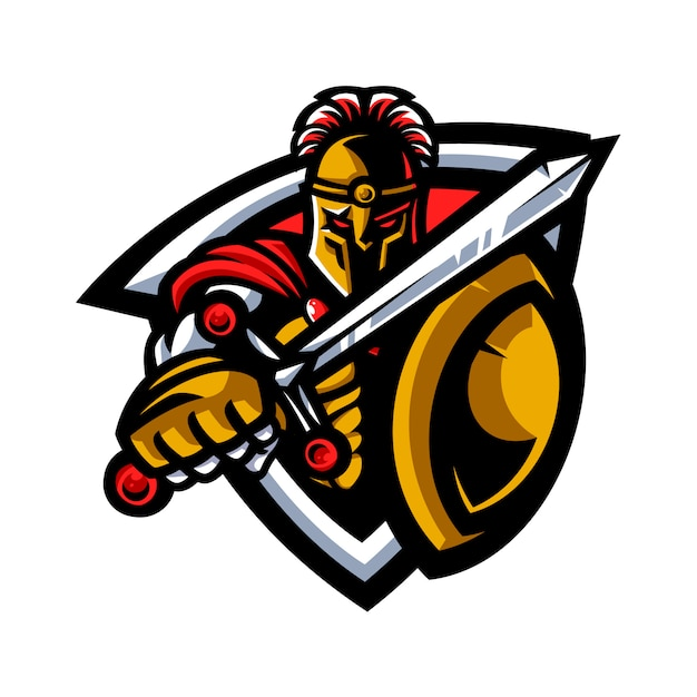 Mascotte guerriera spartana Vettore Premium