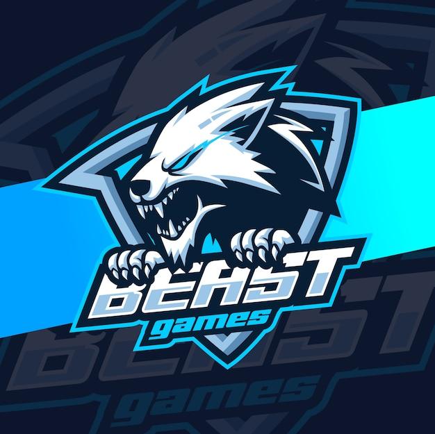 Mascotte lupi mascotte esport logo Vettore Premium