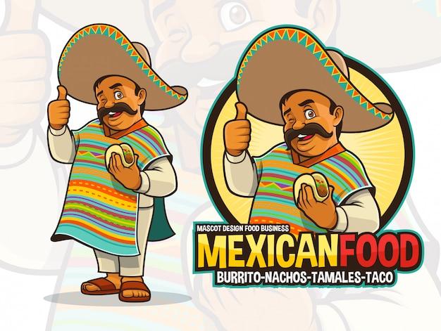Mascotte messicana per il ristorante taco Vettore Premium