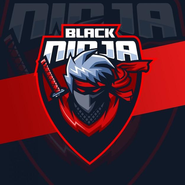 Mascotte ninja nero esport logo design Vettore Premium