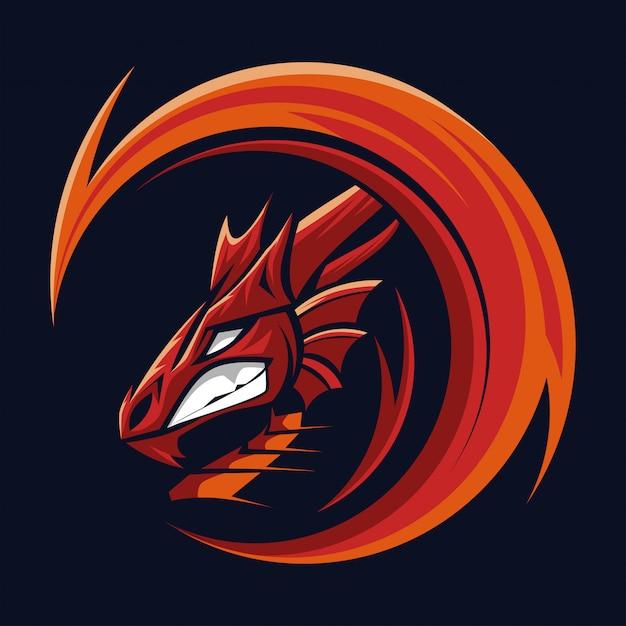 Mascotte testa di drago Vettore Premium
