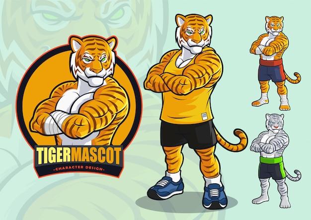 Mascotte tigre per macchie e arti marziali logo e illustrazione con apparenze alternate. Vettore Premium