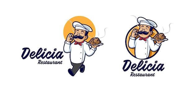 Master chef holding chicken Vettore Premium