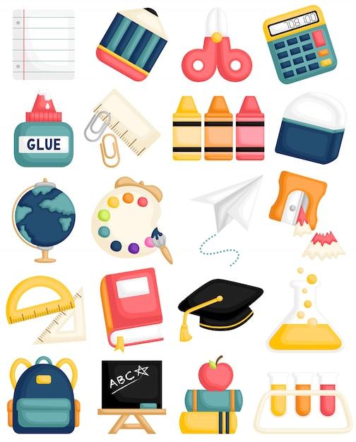 Materiale scolastico carino Vettore Premium