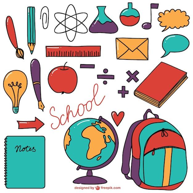 Materiale scolastico colorata collezione Vettore gratuito