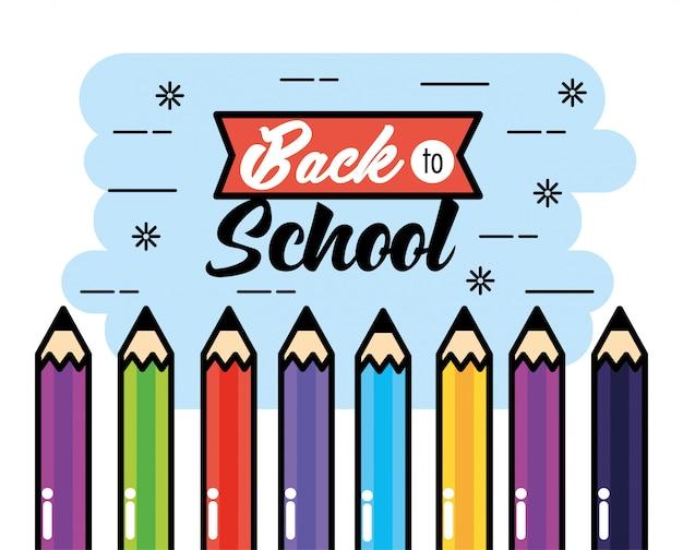 Matite di colori a fondo di scuola posteriore Vettore Premium