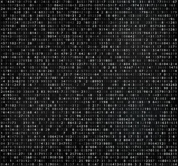 Matrice nera con cifre, codice computer per crittografia e codifica Vettore Premium