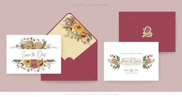 Matrimonio d'autunno salva la data card Vettore Premium