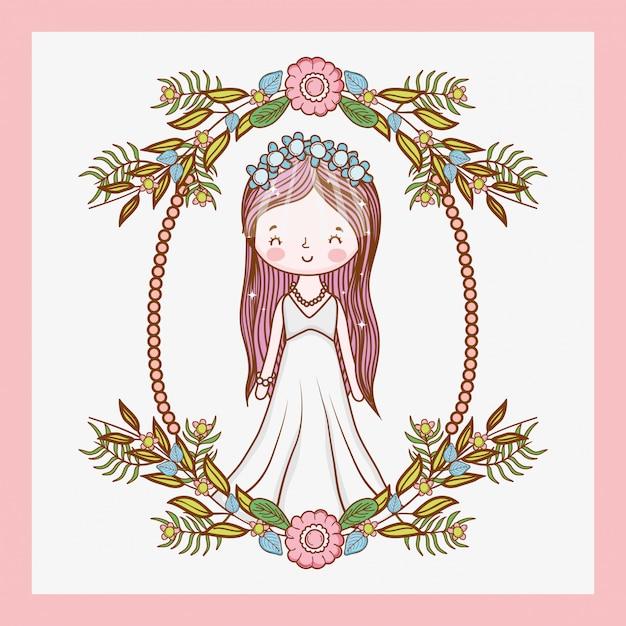 Matrimonio donna con telaio e foglie di piante Vettore Premium