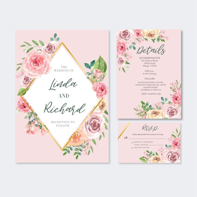 Matrimonio floreale della carta dell'invito del giardino della carta di nozze felice, dettaglio di rsvp. Vettore gratuito