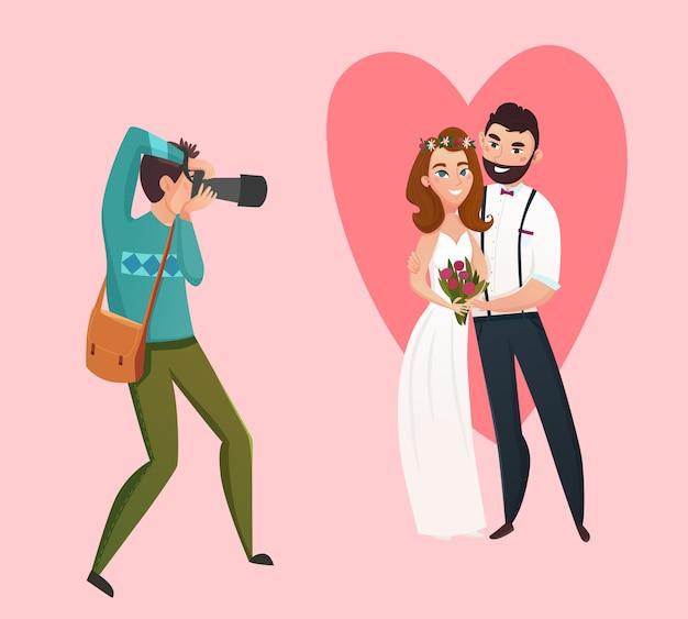 Matrimonio fotografo design concept Vettore gratuito
