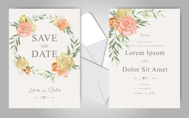 Matrimonio romantico dell'acquerello stazionario con belle rose Vettore Premium