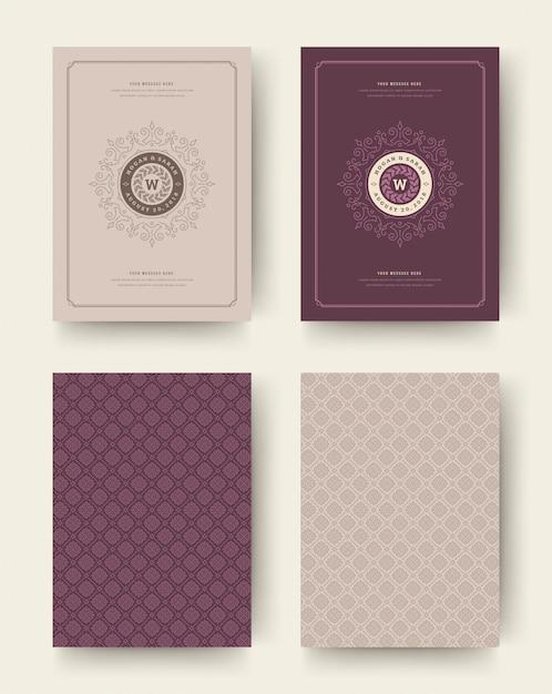 Matrimonio salva la data carte invito vintage tipografiche. design di titoli di invito a nozze. Vettore Premium