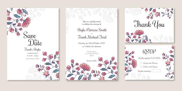 Matrimonio salva la data, l'invito, grazie, scheda rsvp Vettore Premium