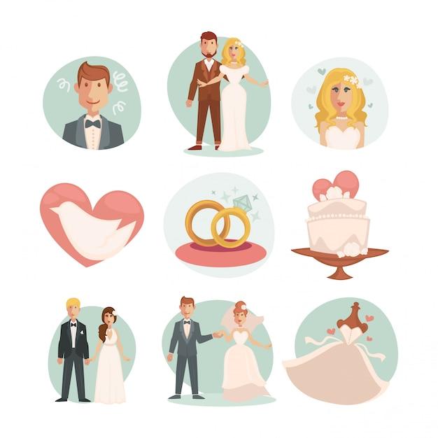 Matrimonio sposa e sposo. vector illustrazioni di nozze Vettore Premium