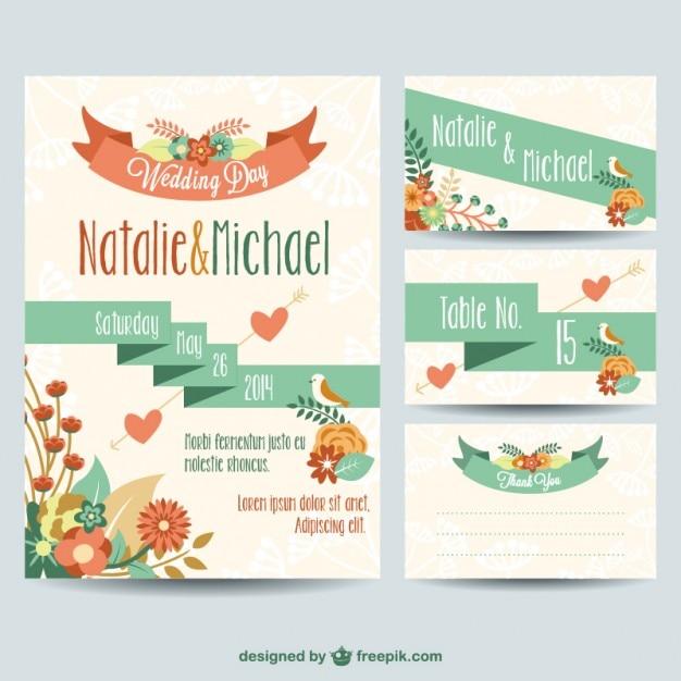 Matrimonio stampabili disegno floreale libero Vettore gratuito