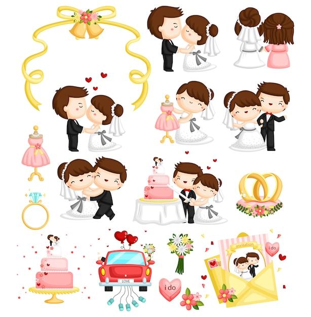 Matrimonio vector set Vettore Premium