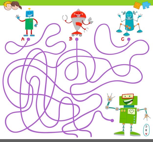 Maze puzzle activity game con personaggi robot Vettore Premium