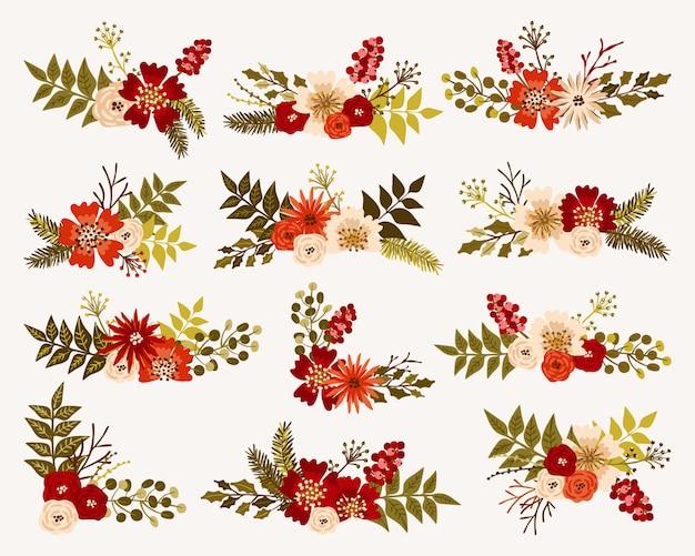 Mazzi di fiori natalizi e invernali Vettore Premium