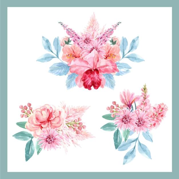 Mazzo con il concetto affascinante floreale, illustrazione floreale d'annata dell'acquerello. Vettore gratuito