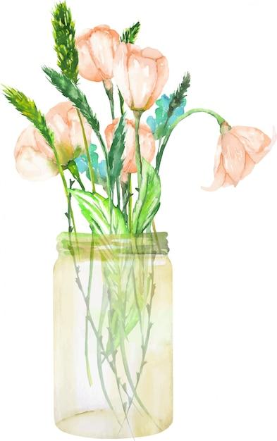 Mazzo dei wildflowers dentellare in un vaso di vetro Vettore Premium