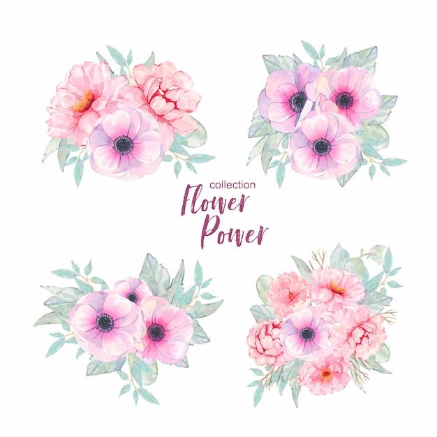Mazzo dell'anemone e della peonia di rosa del fiore dipinto a mano dell'acquerello isolato Vettore gratuito