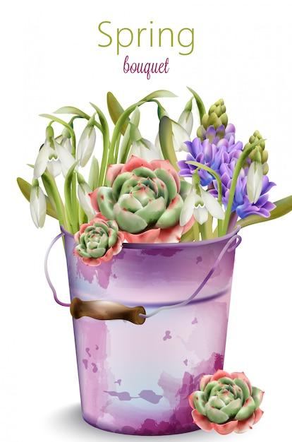 Mazzo della primavera dei fiori in fioritura. campanula, lavanda, peonia Vettore Premium