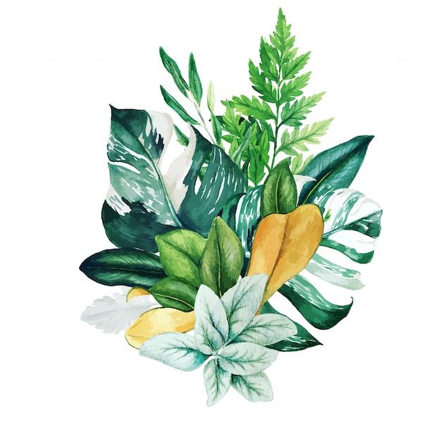 Mazzo di erbe dell'acquerello con felci e monstera Vettore Premium