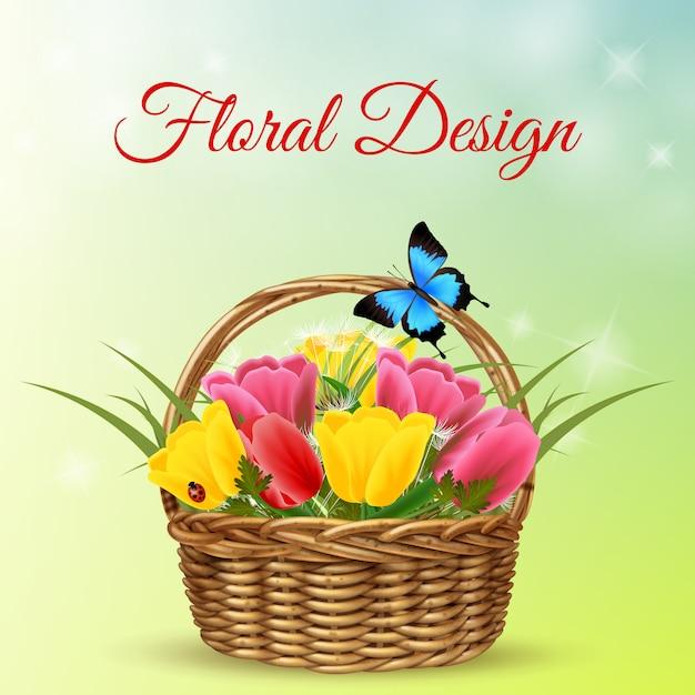 Mazzo di fiori in cestino di vimini Vettore gratuito
