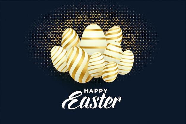 Mazzo di fondo dorato delle uova di pasqua Vettore gratuito