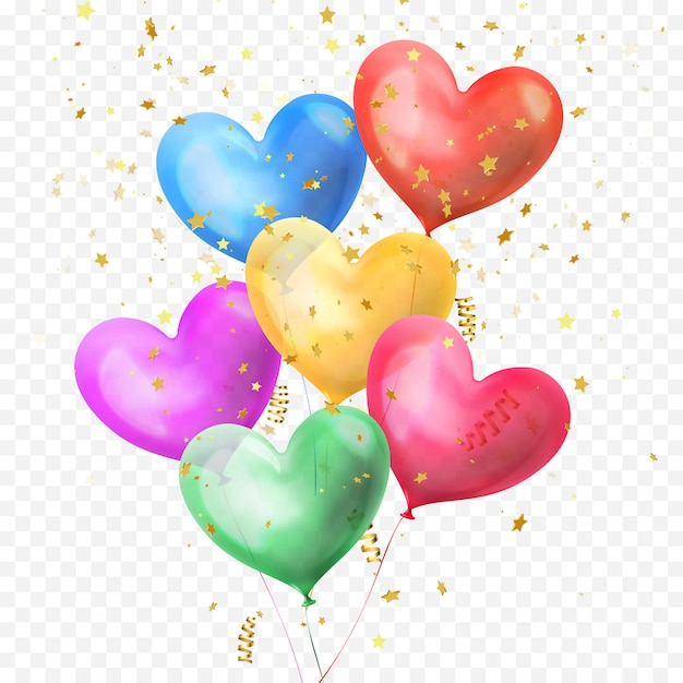 Mazzo di palloncini cuore e coriandoli di stelle glitter dorati isolati su sfondo trasparente per la festa di compleanno, il giorno di san valentino o il disegno della decorazione di nozze. fascio di palloncini colorati a cuore di elio Vettore Premium