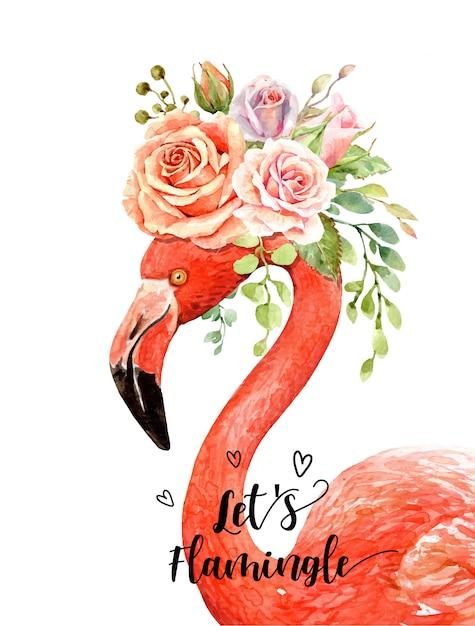 Mazzo di rose dell'acquerello sulla testa di ritratto di flamingo. Vettore Premium