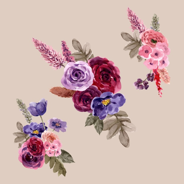 Mazzo floreale del vino con il fiore di ptilotus, illustrazione rosa dell'acquerello. Vettore gratuito