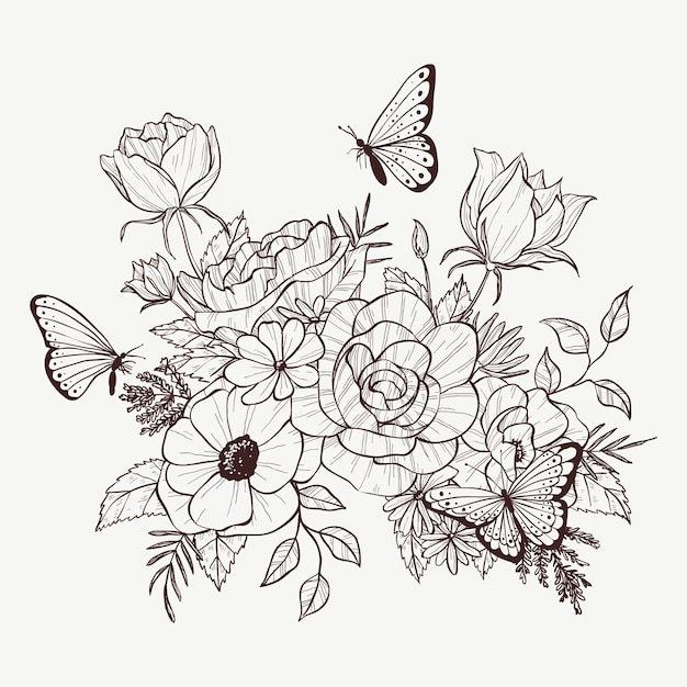 Mazzo floreale disegnato a mano realistico Vettore gratuito