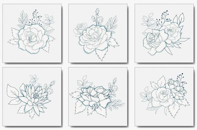 Mazzo floreale disegnato a mano Vettore Premium