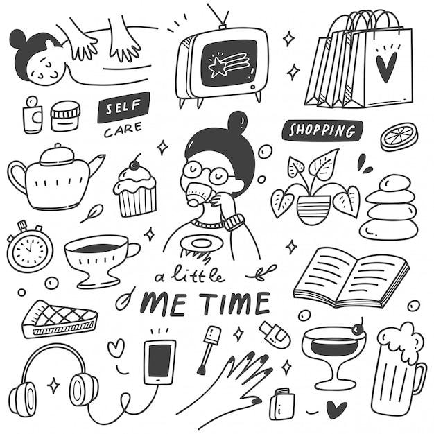 Me illustrazione di doodle di concetto di tempo Vettore Premium