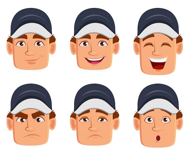 Meccanico, varie espressioni facciali Vettore Premium