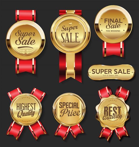 Medaglia d'oro con collezione super vendita di nastri rossi Vettore Premium