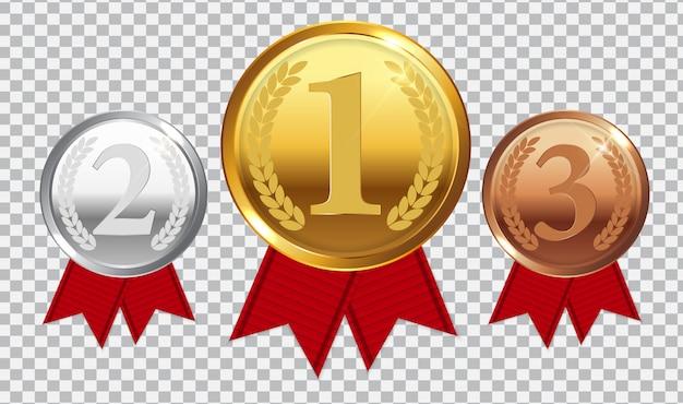 Medaglia d'oro, d'argento e di bronzo campione con nastro rosso. icona segno del primo, secondo e terzo posto isolato su trasparente. Vettore Premium