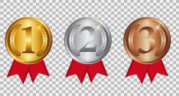 Medaglia d'oro, d'argento e di bronzo campione con nastro rosso Vettore Premium
