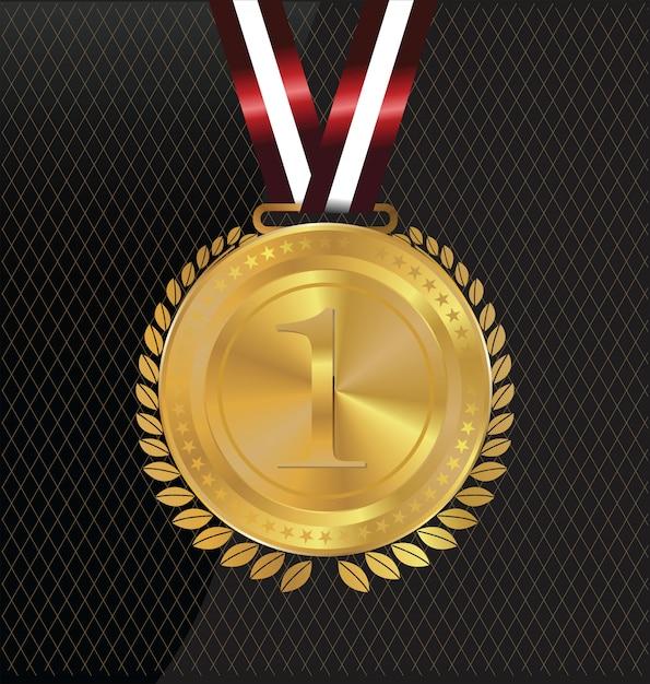 Medaglia d'oro Vettore Premium