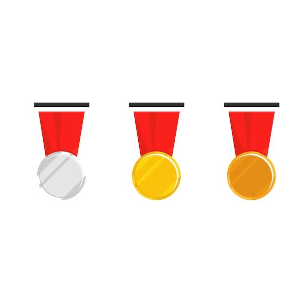 Medaglia di campione con nastro rosso Vettore Premium