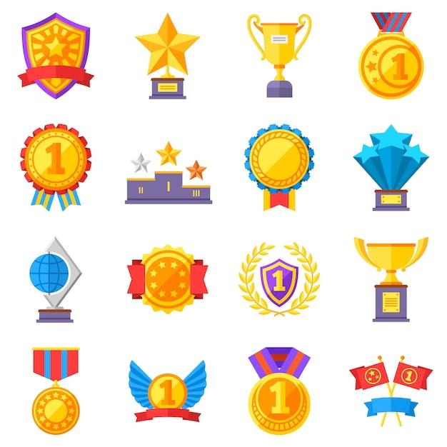 Medaglie trofeo e icone di successo nastro vincente. vincere premi simboli del vincitore del vettore. successo e trofeo Vettore Premium