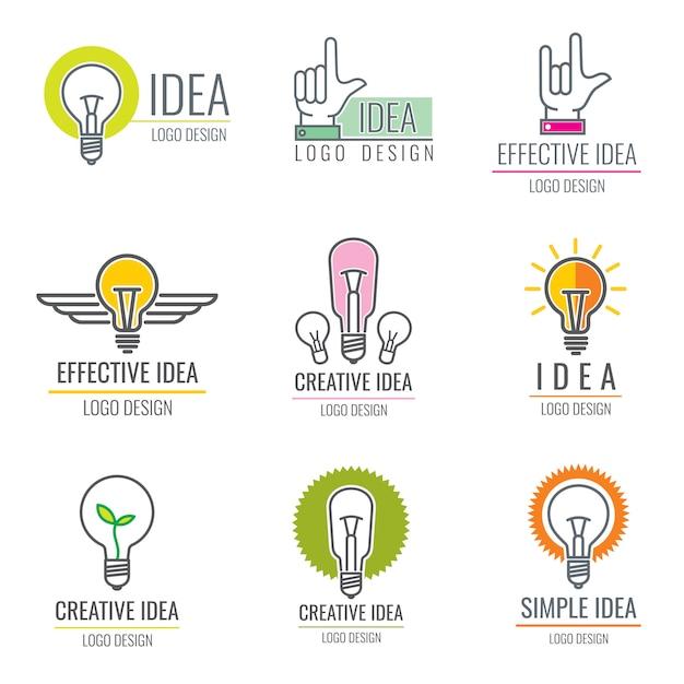 Media digitali idea creativa, collezione di logo concetto intelligente cervello Vettore Premium