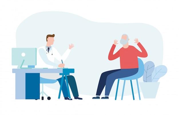 Medicina con medico psichiatra e paziente anziano. medico del professionista e paziente dell'uomo senior nell'ufficio medico dell'ospedale. consultazione e diagnosi di salute mentale. illustrazione piatta Vettore Premium