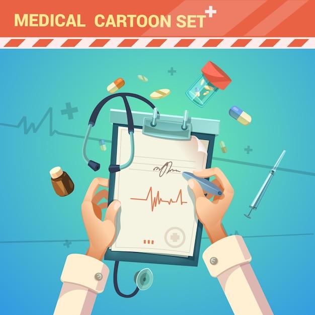 Medicina e trattamento con medico scrivendo un cartone animato di prescrizione Vettore gratuito