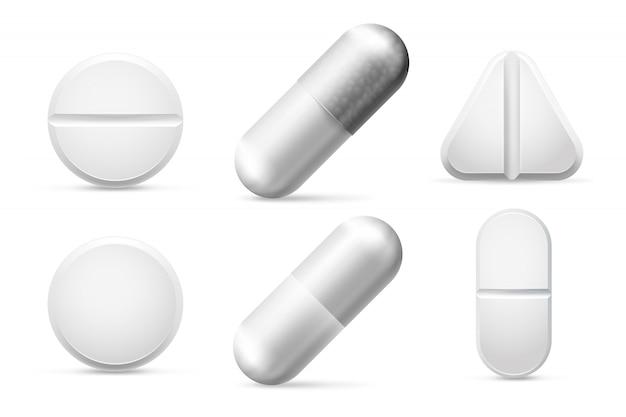 Medicina tondo pillole bianche cura, aspirina, antibiotici, vitamina e antidolorifici. Vettore Premium