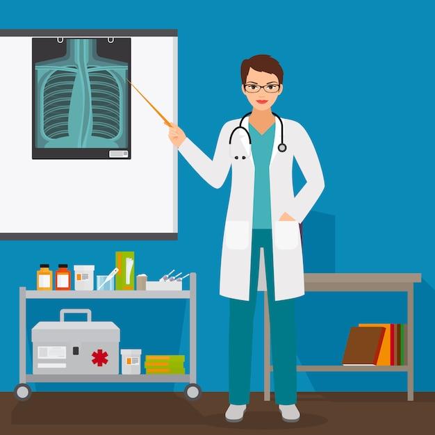 Medico che controlla la pellicola a raggi x dei polmoni Vettore Premium